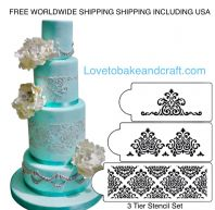 Cake stencil, 3 piece set. Designer cake stencil, Wedding cake stencil, cake decorating stencil, Free worldwide shipping (1) (2) (5)